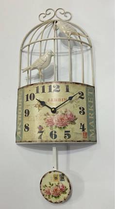 """Настенные металлические кварцевые часы с маятником в стиле """" Птичка в клетке """", фото 2"""