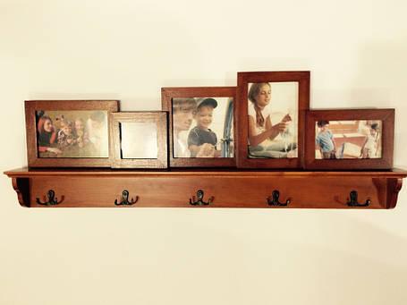 Фотоколлаж с крючками, мультирамка  фоторамка на 5 фото дерево, фото 2