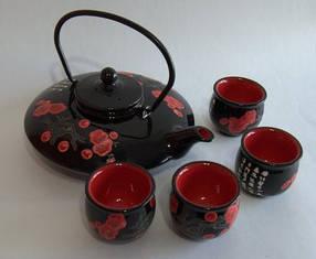 Набор для чайной церемонии черный в деревянной коробке 8087