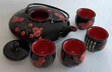 Набор для чайной церемонии черный в деревянной коробке, фото 2