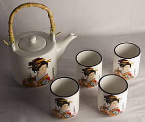 Набор для чайной церемонии белый в деревянной коробке