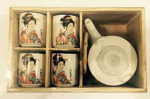 Набор для чайной церемонии белый в деревянной коробке, фото 2