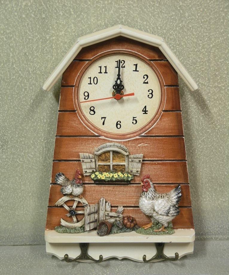 """Настенные кварцевые часы  с  крючками """" Кухня """""""