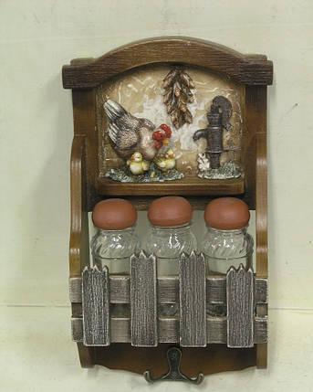 """Полка декоративная на 3 банки для специй с крючками  """" Кухня """", фото 2"""