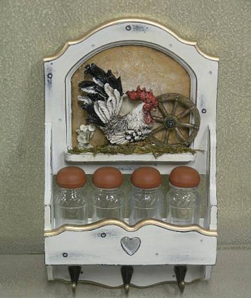 """Полка декоративная на 4 банки для специй с крючками  """" Кухня """", фото 2"""