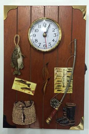 """Ключница  настенная, деревянная с часами -"""" Рыбалка """", фото 2"""