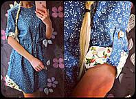 Платье Джинсовое Маргаритка Платье Рубашка Светлый Джинс Цветочки Турция