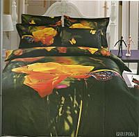 Комплект постельного белья Le Vele mariposa, Сатин 3D (100% Хлопок), двуспальный евро 200х220см