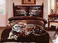 Комплект постельного белья Le Vele tiger, Сатин 3D (100% Хлопок), двуспальный евро 200х220см