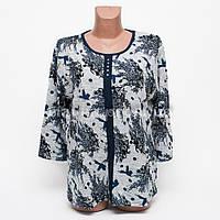 Кофта блуза женская батал Цветок p.52-54 цвет серый B7-8