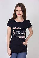 Хлопковая футболка в черном цвете на каждый день с надписью