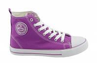 Стильные, яркие высокие кеды American club аля Converse для женщин и подростко р.36,37,38,39,40,41 фиолетовые