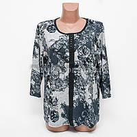 Кофта блуза женская батал Цветок p.52-54 цвет джинс B7-9