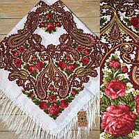 Красивый женский платок с узорами и цветами (120х120см, білий, 80%-шерсть)