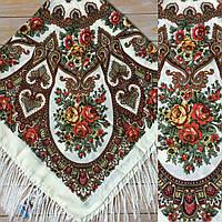 Красивый платок для девушки с узорами и цветами (120х120см, шампань, 80%-шерсть), фото 1