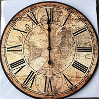 """Настенные большие кварцевые часы МДФ  60см """" Карта Мира """" (BL-CK24 С)"""