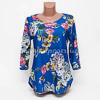 Блуза женская креп-шифон с узором Цветы p.48-50 цвет электрик B8-1