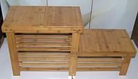 Полка скамья  для обуви бамбуковая 86 см * 44 см * 28 см