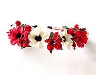 Обруч веночек ручной работы, белые и красные цветы