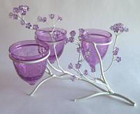 Подсвечник тройной оригинальный битое стекло