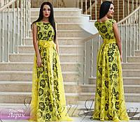 """Шикарное женское платье """"Лоран"""" (итальянский лен на органзе, длина в пол, бижутерия, пояс) РАЗНЫЕ ЦВЕТА!"""