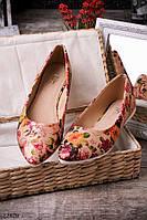Женские балетки с цветочным принтом модные красивые O-12828