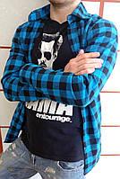 Рубашка мужская в клетку черно голубая 1021