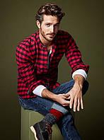 Мужская рубашка в красную клетку 1020
