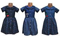Платье джинсовое детское для девочки, коттон, р.р.80-122