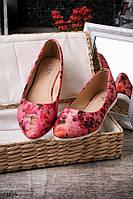 Женские балетки с цветочным принтом модные красивые O-12829