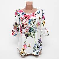 Блуза женская креп-шифон с узором Цветы p.48-50 цвет белый B8-3