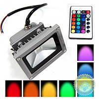 Прожектор LED LL-180 1LED 10W RGB+пульт 230V (115х87х103mm) серебро