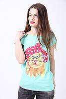 Бирюзовая футболка женская из хлопка с рисунком