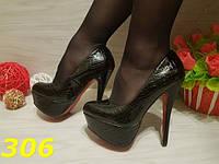 Женские туфли под рептилию, красн.подошва, р.40
