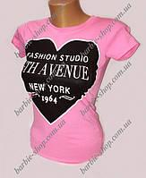 Розовая футболка с сердечком для девушек