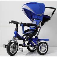 """Велосипед для малышей с ручкой TR16002, синий, 3-х колесный 12/10"""", корзинка для игрушек"""