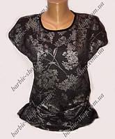 Необычная черная футболка для девушек