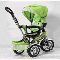 """Велосипед для малышей с ручкой TR16003, зеленый, 3-х колесный 12/10"""", корзинка для игрушек"""