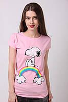 Розовая женская футболка  из легкого хлопка с рисунком собачкой