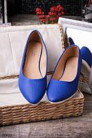 Женские  синие балетки с заостренным носком стильные O-12832, фото 1