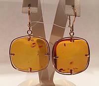 Серьги с янтарем золотые 583 пробы СССР