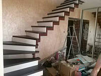 Металокаркас для маршевой лестницы на косоурах на тетиве под дальнейшую отделку изготовление и монтаж