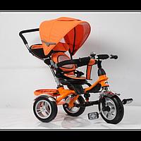 """Велосипед для малышей с ручкой TR16004, оранжевый 3-х колесный 12/10"""", корзинка для игрушек"""