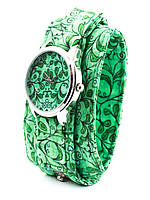 Часы наручные Салатовые лепесточки тканевый ремешок