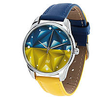 Часы наручные Флаг треугольники желто-голубой