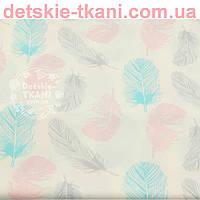 Ткань хлопковая с розовыми, серыми и бирюзовыми пёрышками  № 647 б