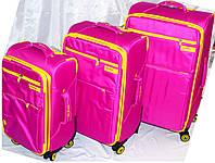 Набор чемоданов розовый с желтыми вставками 4 колесах 3 шт THREE BIRDS 9022 (28х24х20)