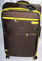 Набор чемоданов коричневый с желтыми вставками 4 колесах 3 шт THREE BIRDS 9022 (28х24х20)