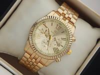 Женские кварцевые наручные часы Rolex на металлическом браслете золотого цвета с римскими цифрами, фото 1