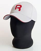 """Бейсболка мужская спортивная """"R"""" светло-серая с красным кантом, лакоста пятиклинка"""